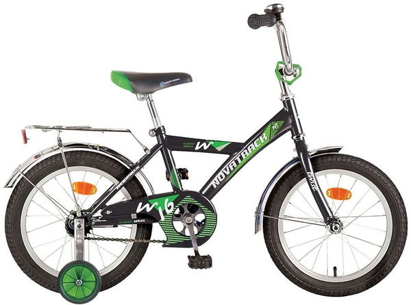 """117034 2 - Велосипед NOVATRACK TWIST, Детский, р. 9"""", колеса 14"""", цвет Черный, 2020г."""