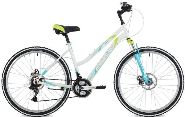 """124817 2 - Велосипед Stinger Latina D, р.15, цвет Белый, 2018г., колеса 26"""""""