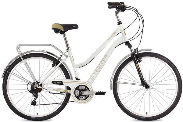 """124823 2 - Велосипед Stinger Victoria, р.15, цвет Белый, 2018г., колеса 26"""""""