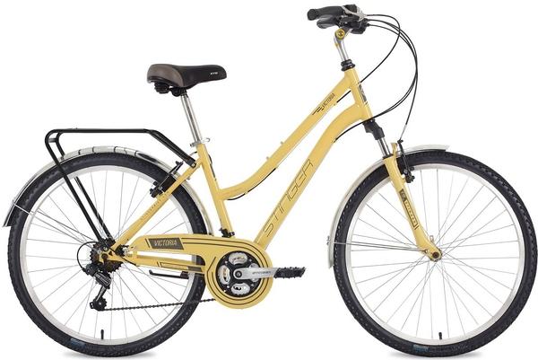 "124825 2 - Велосипед Stinger Victoria, р.15, цвет Бежевый, 2018г., колеса 26"""