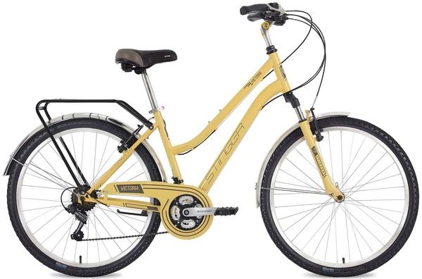 "124826 2 - Велосипед Stinger Victoria, р.17, цвет Бежевый, 2018г., колеса 26"""