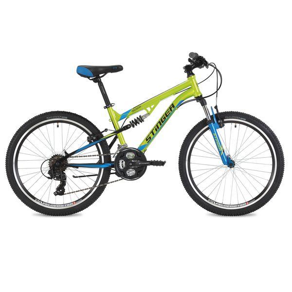 "125640 2 - Велосипед Stinger Discovery, р.14, цвет Зеленый, 2018г., колеса 24"""