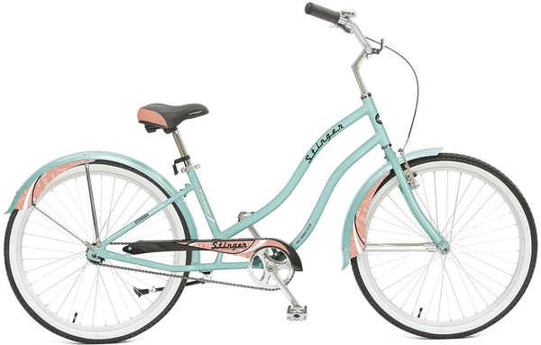 "127012 2 - Велосипед Stinger Cruiser L, р.16, цвет Зеленый, 2018г., колеса 26"""