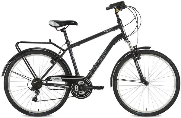 "127045 2 - Велосипед Stinger Traffic, р.18, цвет Серый, 2018г., колеса 26"""