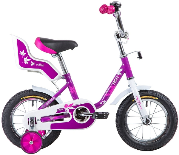 """133871 2 - Велосипед NOVATRACK MAPLE, Детский, р. 8,5"""", колеса 12"""", цвет Сиреневый, 2020г."""
