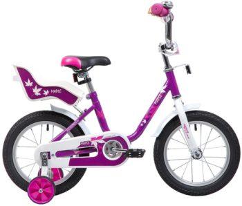 """133888 2 350x298 - Велосипед NOVATRACK MAPLE, Детский, р. 9"""", колеса 14"""", цвет Сиреневый, 2020г."""