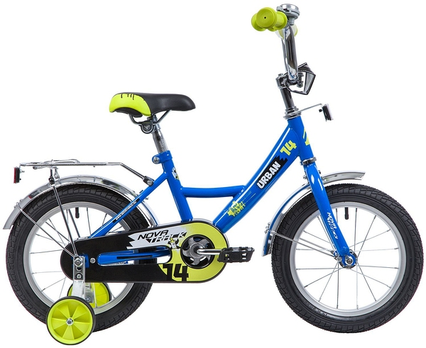 """133895 2 - Велосипед NOVATRACK URBAN, Детский, р. 9"""", колеса 14"""", цвет Синий, 2020г."""