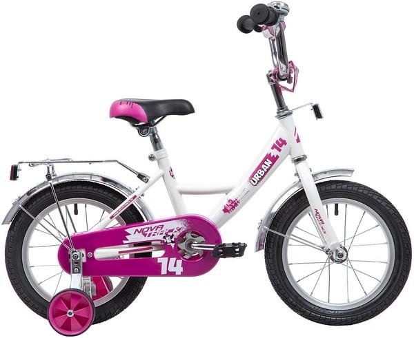 """133898 2 - Велосипед NOVATRACK URBAN, Детский, р. 9"""", колеса 14"""", цвет Белый, 2020г."""