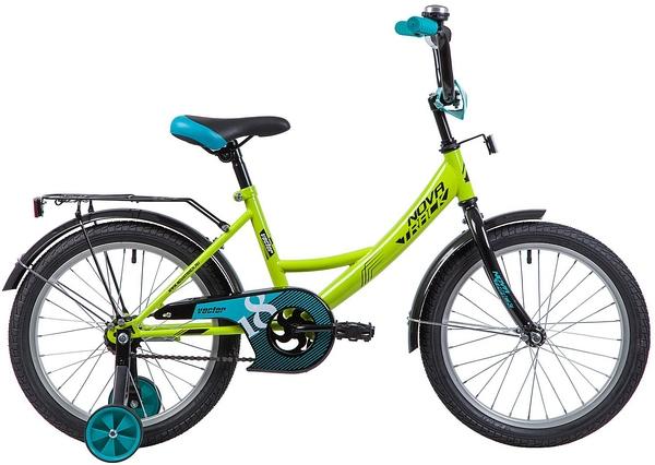 """133937 2 - Велосипед NOVATRACK VECTOR, Детский, р. 11,5"""", колеса 18"""", цвет Зеленый, 2020г."""