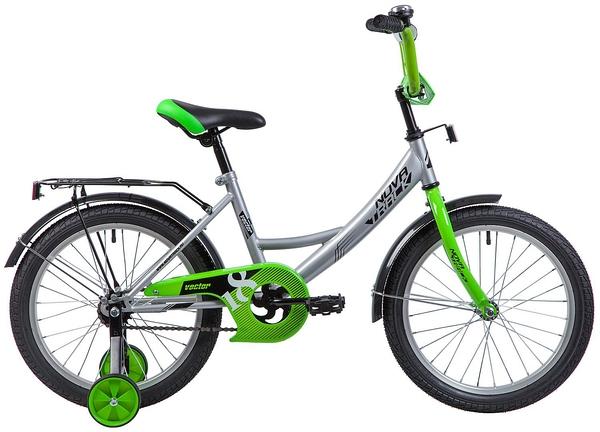 """133938 2 - Велосипед NOVATRACK VECTOR, Детский, р. 11,5"""", колеса 18"""", цвет Серебристый, 2020г."""