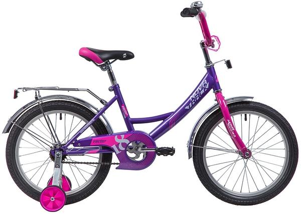 """133939 2 - Велосипед NOVATRACK VECTOR, Детский, р. 11,5"""", колеса 18"""", цвет Фиолетовый, 2020г."""