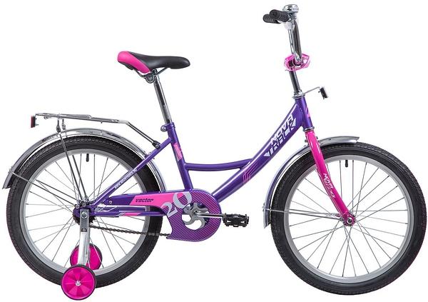 """133953 2 - Велосипед NOVATRACK VECTOR, Детский, р. 12"""", колеса 20"""", цвет Фиолетовый, 2020г."""