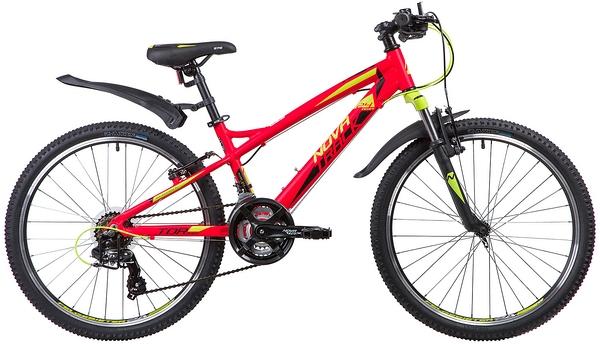 """133963 2 - Велосипед NOVATRACK TORNADO, Скоростной, р. 13"""", колеса 24"""", цвет Красный, 2020г."""