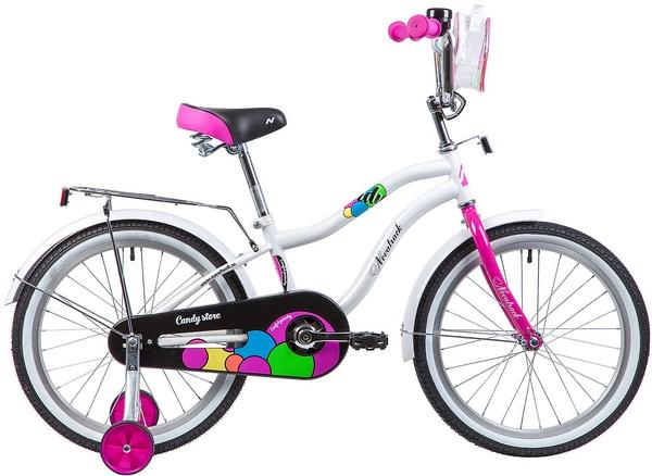 """133978 2 - Велосипед NOVATRACK CANDY, Детский, р. 12"""", колеса 20"""", цвет Белый, 2020г."""