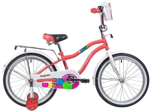 """133979 2 - Велосипед NOVATRACK CANDY, Детский, р. 12"""", колеса 20"""", цвет Коралловый, 2020г."""