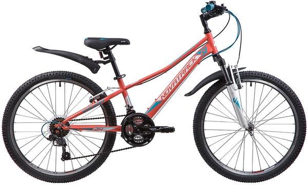 """133986 2 - Велосипед NOVATRACK VALIANT, Скоростной, р. 12"""", колеса 24"""", цвет Коралловый, 2020г."""