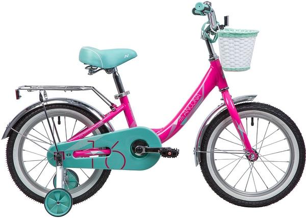 """133987 2 - Велосипед NOVATRACK ANCONA, Детский, р. 10,5"""", колеса 16"""", цвет Розовый, 2020г."""
