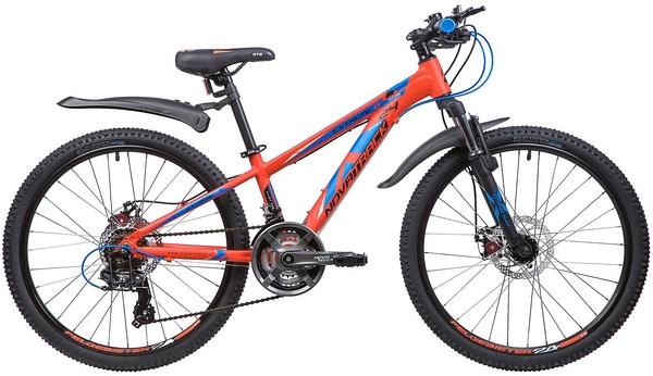 """133997 2 - Велосипед NOVATRACK EXTREME, Скоростной, р. 11"""", колеса 24"""", цвет Оранжевый, 2020г."""