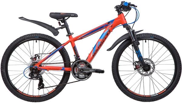 """133998 2 - Велосипед NOVATRACK EXTREME, Скоростной, р. 13"""", колеса 24"""", цвет Оранжевый, 2020г."""