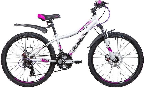 """134002 2 - Велосипед NOVATRACK KATRINA, Скоростной, р. 12"""", колеса 24"""", цвет Белый, 2020г."""