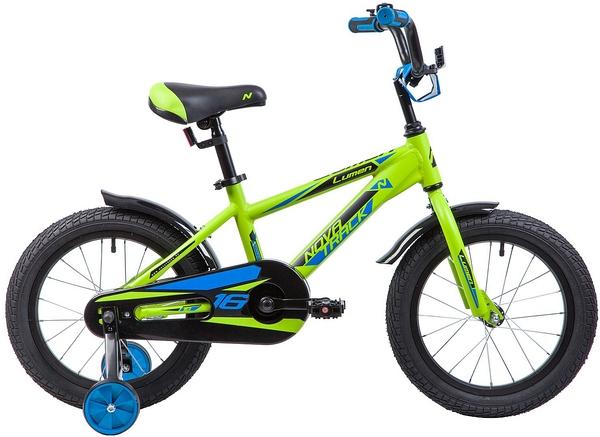 """134006 2 - Велосипед NOVATRACK LUMEN, Детский, р. 10,5"""", колеса 16"""", цвет Зеленый, 2020г."""
