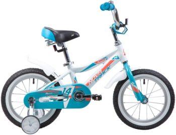 """134018 2 350x268 - Велосипед NOVATRACK NOVARA, Детский, р. 9"""", колеса 14"""", цвет Белый, 2020г."""
