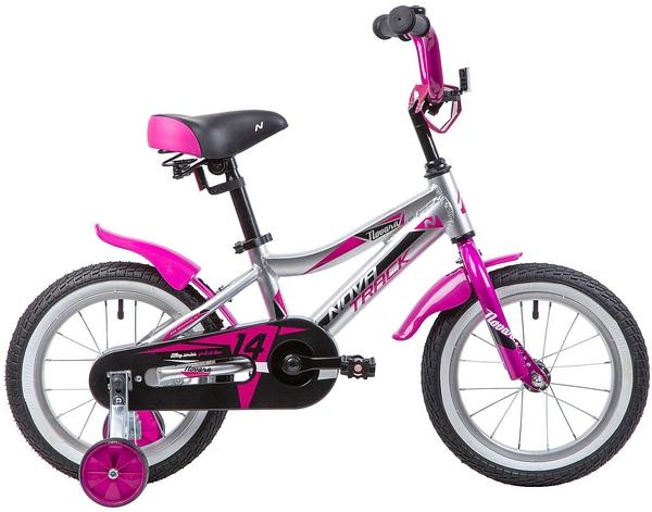 """134019 2 - Велосипед NOVATRACK NOVARA, Детский, р. 9"""", колеса 14"""", цвет Серебристый, 2020г."""