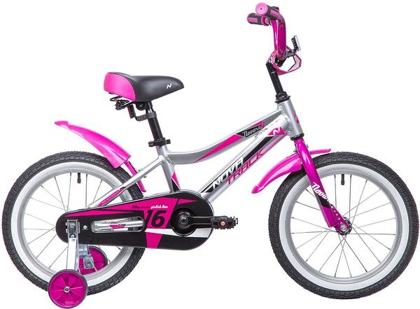 """134022 2 - Велосипед NOVATRACK NOVARA, Детский, р. 10,5"""", колеса 16"""", цвет Серебристый, 2020г."""