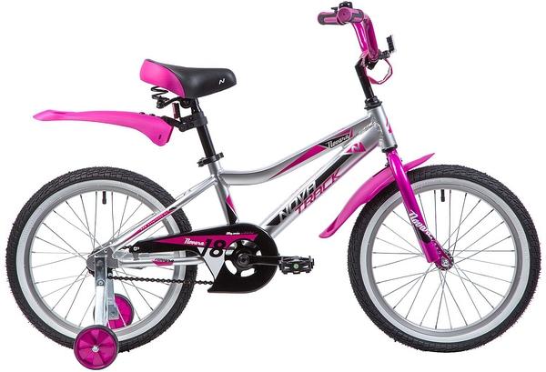 """134025 2 - Велосипед NOVATRACK NOVARA, Детский, р. 11,5"""", колеса 18"""", цвет Серебристый, 2020г."""