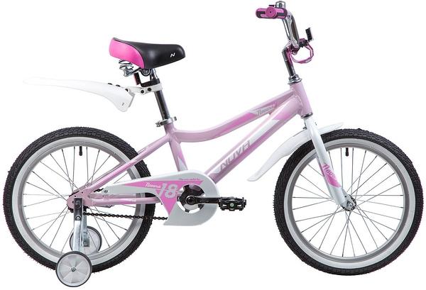 """134026 2 - Велосипед NOVATRACK NOVARA, Детский, р. 11,5"""", колеса 18"""", цвет Розовый, 2020г."""