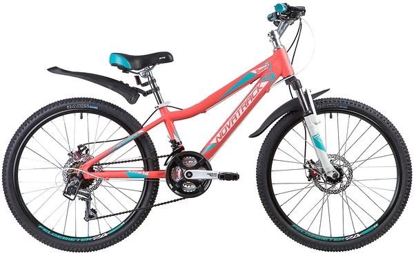 """134030 2 - Велосипед NOVATRACK NOVARA, Скоростной, р. 11"""", колеса 24"""", цвет Коралловый, 2020г."""