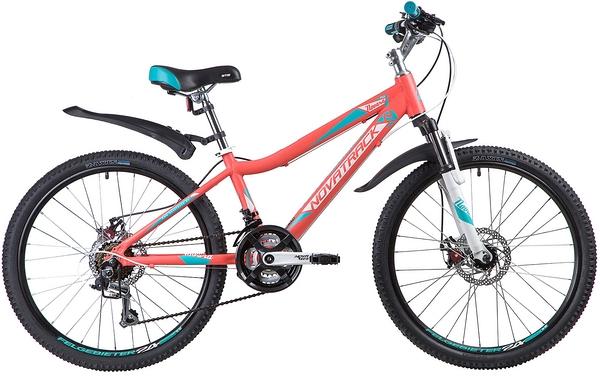 """134031 2 - Велосипед NOVATRACK NOVARA, Скоростной, р. 13"""", колеса 24"""", цвет Коралловый, 2020г."""