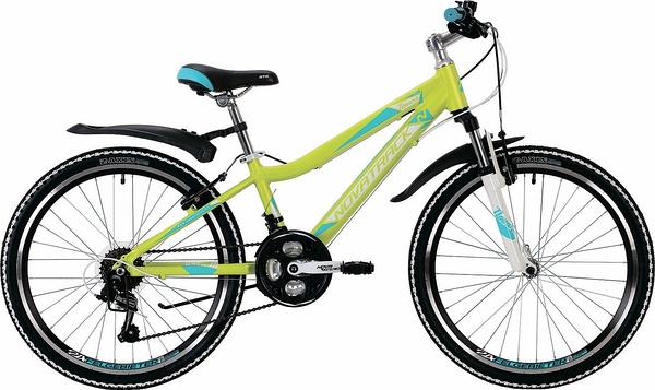 """134033 2 - Велосипед NOVATRACK NOVARA, Скоростной, р. 13"""", колеса 24"""", цвет Лаймовый, 2020г."""