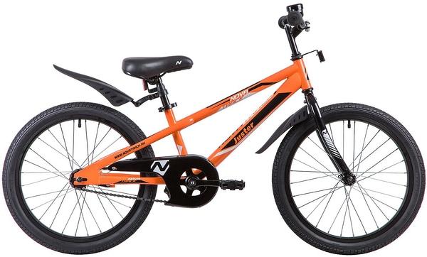 """134040 2 - Велосипед NOVATRACK JUSTER, Детский, р. 12"""", колеса 20"""", цвет Оранжевый, 2020г."""