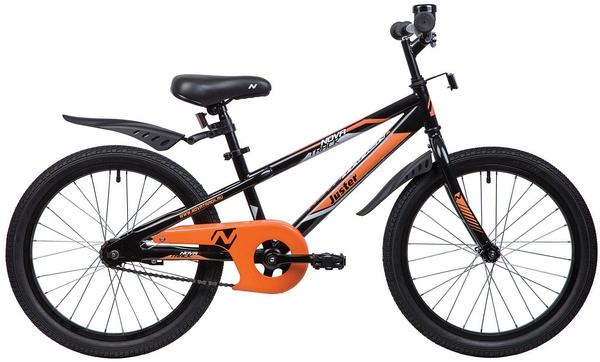 """134041 2 - Велосипед NOVATRACK JUSTER, Детский, р. 12"""", колеса 20"""", цвет Черный, 2020г."""