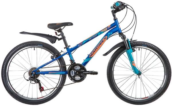 """134042 2 - Велосипед NOVATRACK ACTION, Скоростной, р. 10"""", колеса 24"""", цвет Синий, 2020г."""