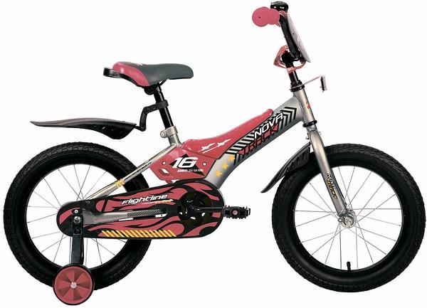 """134049 2 - Велосипед NOVATRACK FLIGHTLINE, Детский, р. 10,5"""", колеса 16"""", цвет Серый, 2020г."""