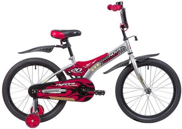 """134051 2 - Велосипед NOVATRACK FLIGHTLINE, Детский, р. 12"""", колеса 20"""", цвет Серый, 2020г."""
