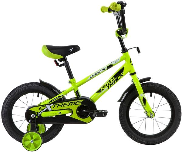 """134061 2 - Велосипед NOVATRACK EXTREME, Детский, р. 9"""", колеса 14"""", цвет Зеленый, 2020г."""