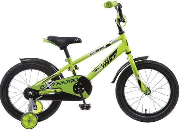 """134064 2 - Велосипед NOVATRACK EXTREME, Детский, р. 10,5"""", колеса 16"""", цвет Зеленый, 2020г."""