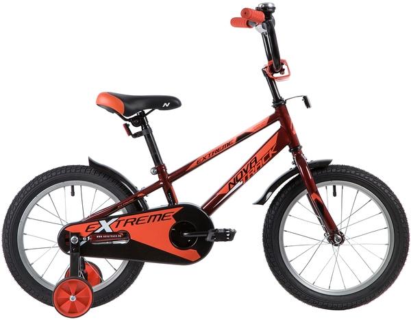 """134065 2 - Велосипед NOVATRACK EXTREME, Детский, р. 10,5"""", колеса 16"""", цвет Коричневый, 2020г."""