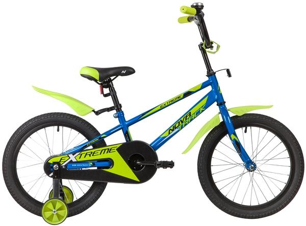 """134066 2 - Велосипед NOVATRACK EXTREME, Детский, р. 11,5"""", колеса 18"""", цвет Синий, 2020г."""