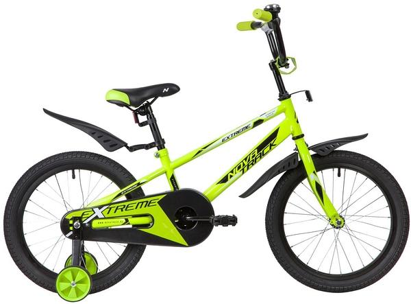"""134067 2 - Велосипед NOVATRACK EXTREME, Детский, р. 11,5"""", колеса 18"""", цвет Зеленый, 2020г."""