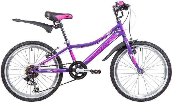"""134070 2 - Велосипед NOVATRACK ALICE, Скоростной, р. 10"""", колеса 20"""", цвет Фиолетовый, 2020г."""