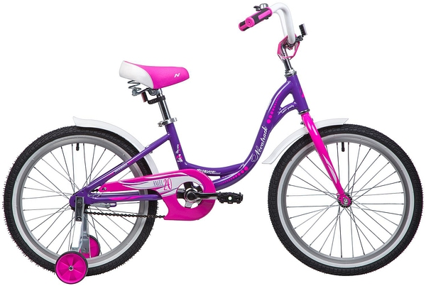 """134077 2 - Велосипед NOVATRACK ANGEL, Детский, р. 12"""", колеса 20"""", цвет Фиолетовый, 2020г."""