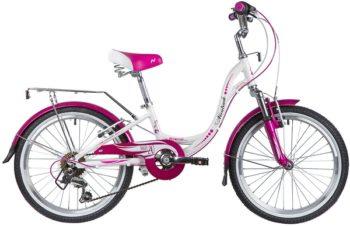 """134078 2 350x226 - Велосипед NOVATRACK ANGEL, Скоростной, р. 10"""", колеса 20"""", цвет Белый, 2020г."""