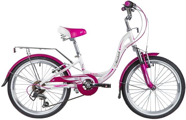 """134078 2 - Велосипед NOVATRACK ANGEL, Скоростной, р. 10"""", колеса 20"""", цвет Белый, 2020г."""