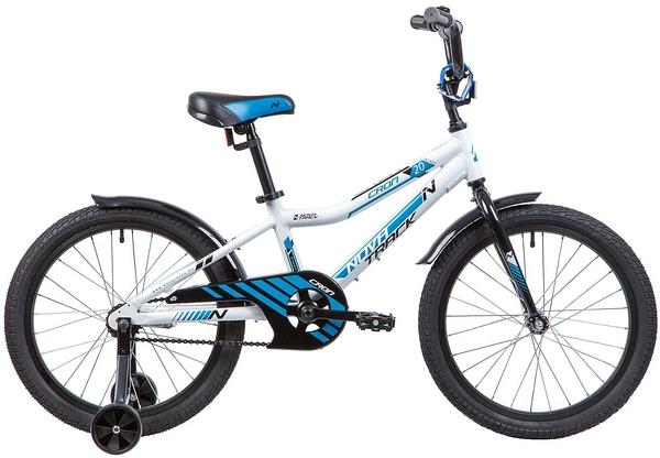 """134080 2 - Велосипед NOVATRACK CRON, Детский, р. 12"""", колеса 20"""", цвет Белый, 2020г."""