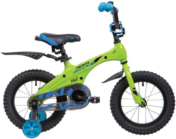 """134081 2 - Велосипед NOVATRACK BLAST, Детский, р. 9"""", колеса 14"""", цвет Зеленый, 2020г."""