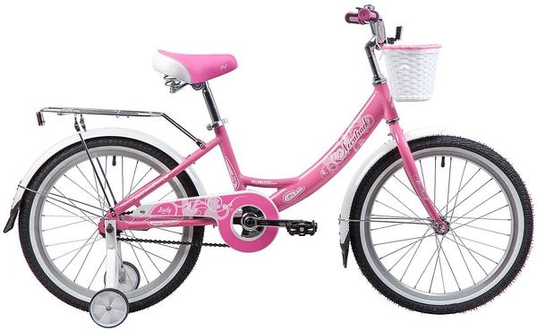 """134090 2 - Велосипед NOVATRACK GIRLISH, Детский, р. 12"""", колеса 20"""", цвет Розовый, 2020г."""